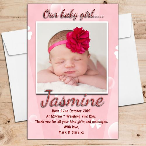 10 Personalised Baby Girl Butterfly Birth Announcement Thank you PHOTO cards N53